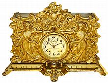 National Electric Clock Co., New York, alarm clock with battery-powered lighted dial, c1910