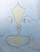 Jean Cocteau (1889-1963), Gesicht, 1957