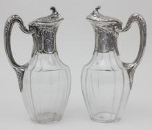 Paar Kristallkaraffen mit Silbermontur, Hénin & Cie., Paris, um 1900