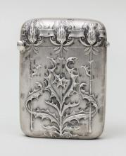 Jugendstil Streichholzetui mit Disteln/ Silver Art Nouveau Match Box With Thistle, Charles Murat, Paris, um 1900