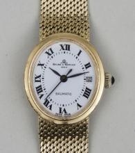 Damenuhr/ Gold Watch, Baume & Mercier Geneve, Schweiz, Baumatic, 2. Hälfte 20. Jh.