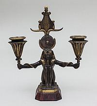 Ägyptisierender Kerzen- u. Taschenuhrenhalter/ Bronze Pharao As Candle- And Pocketwatchholder, Ferdinand Barbedienne, um 1880