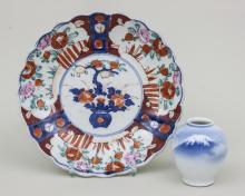 Kleine Vase + Imari-Teller/ Small Vase & Imari Plate, China, 1930er Jahre