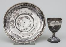 Teller und Eierbecher/ Silver Small Plate And Eggcup, Paris, um 1900