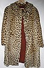 Vtg Leopard Fur Coat w/ Hat