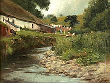 Allan Douglas (late 19th century) - COTTAGE BY A STREAM WITH