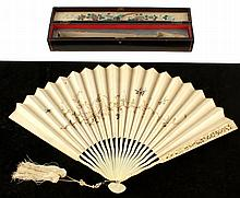 A Late C19th Chinese carved ivory & embroidered silk fan, th