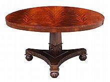 An early C19th William IV flame mahogany circular tilt-top