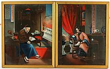 A pair of C19th Chinese oil paintings on canvas depicting fi