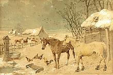John Frederick Herring, Jnr. (1815-1907) - 'FARMYARD IN WIN
