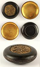 A Chinese Tonkin ware gilt bronze shallow bun shaped box, La