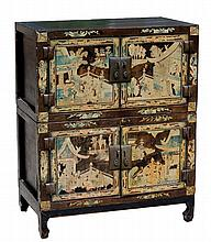 A C19th Chinese black lacquer two-part cabinet, with gilt d
