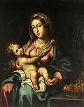 18th century - MADONNA AND CHILD - oil on canvas, re-lined,