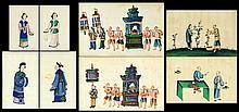 A set of four Chinese paintings on pith paper, Late C19th /