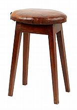 A George III fruitwood stool with padded oval seat