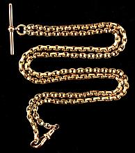 A 9ct gold watch guard chain, 25.4ins. (64.5cms.)