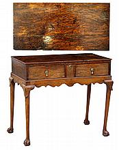A burr yew wood & walnut side table, parts 18th ce