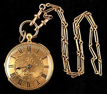 A Victorian 18ct gold pocket watch, with fusee mov