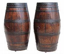 An unusual pair of coopered oak & metalbound half