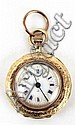 An early C20th 18ct gold cased fob watch with blue