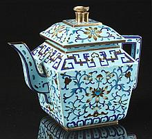 A Chinese silver gilt & enamel square section teapot, probably early 20th c