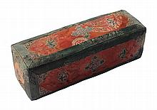 A Chinese embroidered silk square section bolster cushion, 19th century, 29