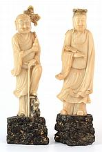 A pair of Chinese carved cream soapstone standing figures, early 20th centu