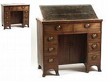 Property of a lady - a George III mahogany & boxwood strung kneehole desk w