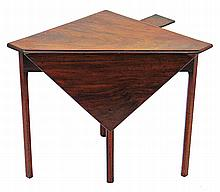 An 18th century George III mahogany triangular drop-leaf corner table circa