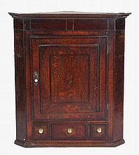 Property of a lady - an 18th century George III oak & mahogany banded corne