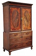 Property of a lady - a George III mahogany, satinwood & inlaid linen press,