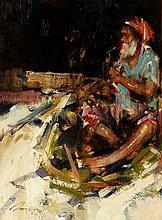 ARR - Ken Moroney (b.1949) - SEATED MAN SMOKING - oil on board, 15.2 by 11.