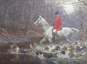 Charles E Stewart, oil on canvas, The Hunt,