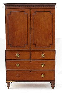 A 19th century mahogany linen press, the two