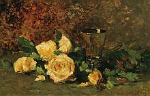 IRVING RAMSEY WILES, American (1861-1948), Still Life with Yellow Roses, oil on panel, signed lower right., 13 x 20