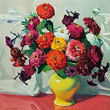 JANE PETERSON, American (1876-1965), Zinnias in a Vase, oil on canvas, signed lower left., 32 x 32