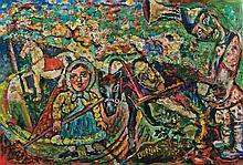 DAVID BURLIUK, Russian/American (1882-1967), Untitled, oil on panel, signed lower center., 16 x 24