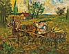 DAVID BURLIUK, Russian/American (1882-1967), Peasant, Horse and Cart, oil on panel, signed lower right., 9 5/8 x 11 3/4