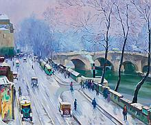 ABEL WARSHAWSKY, American (1883-1962), Bookstalls Along the Seine, oil on canvas, signed lower right., 20 x 24