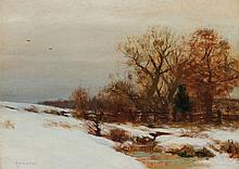 BRUCE CRANE, American (1857-1937), A Winter's Day, oil on canvas, signed lower left., 16 x 22