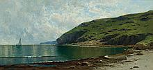 ALFRED THOMPSON BRICHER, American (1837-1908), Coastal Scene, oil on canvas, signed with the artist's monogram lower left., 17 x 36