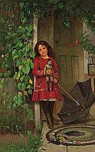 JOHN GEORGE BROWN, American (1831-1913), Girl with Doll, oil on canvas, signed lower left., 22 1/2 x 14 1/2