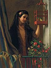 GEORGE HENRY HALL, American (1825-1913), Senorita, oil on canvas, signed lower center, dated 1887-8 and inscribed