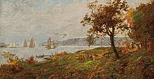 JASPER FRANCIS CROPSEY, American (1823-1900), View of the Palisades on the Hudson, oil on canvas, signed lower right and dated 1894....