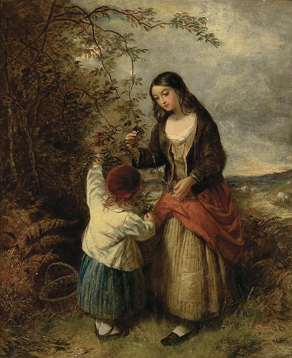 EDWARD JOHN CORBETT British (1815-1899) Picking Berries oil on canvas, signed lower right.