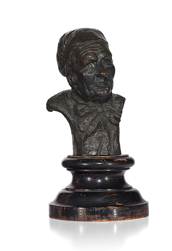 EUGENIE FREDERICA SHONNARD, American (1886-1978), Marie Cafinis, Normandy, bronze, signed, titled and dated 1914, P. Converset, fond...