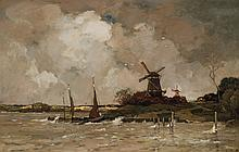 THEOPHILE de BOCK, Dutch (1851-1904), A Stormy Day, Holland, oil on canvas, signed lower right and dated '90., 29 3/4 x 45 1/2