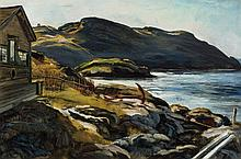 ANDREW WINTER, American (1893-1958), Monhegan Cottage, oil on canvas, signed lower right., 20 x 30
