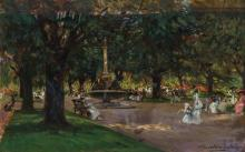 ALBERT CHEVALLIER TAYLER, British (1862-1925), In the Park, oil on canvas, signed and dated 1912 lower right., 14 1/2 x 22 1/4