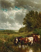 WILLIAM M. HART, American (1823 - 1894), Pasture Scene, oil on canvas, signed and dated 1877 lower left., 20 7/8 x 16 7/8